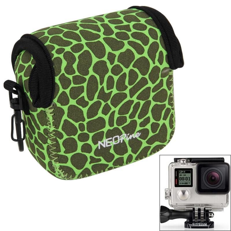 GN-5 luipaard structuur GoPro accessoires Waterdicht huisvesting neopreen innerlijke beschermings zak Camera tas voor GoPro HERO 5 / 4 /3+ /3 /2 /1(groen)
