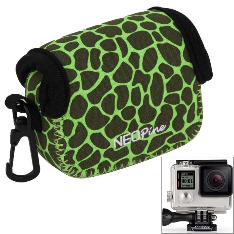 GN-6 luipaard structuur GoPro accessoires Waterdicht huisvesting neopreen innerlijke beschermings zak Camera tas voor GoPro Hero4 /3+ /3(groen)