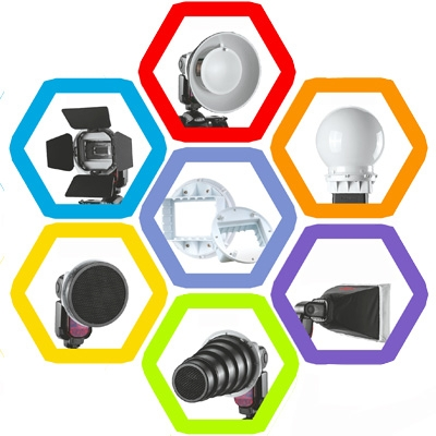 Falcon Eyes SG-100 Speedlite Accessoire Set, Universele Adapter / Lichtklep / Standaard Reflector / Honingraat voor Soft-reflector / Diffuser Bal / Kleuren Gel / Softbox