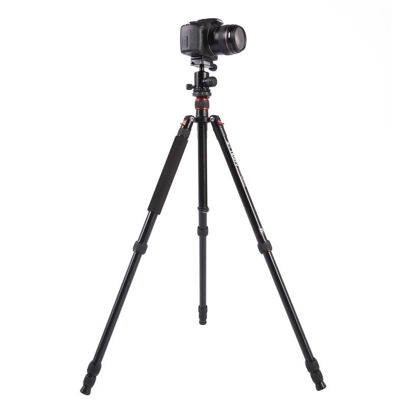 Triopo MT-2504C Verstelbaar Portable Statief Aluminium Tripod Standaard met NB-1S Balhoofd voor Canon Nikon Sony DSLR Camera (zwart)