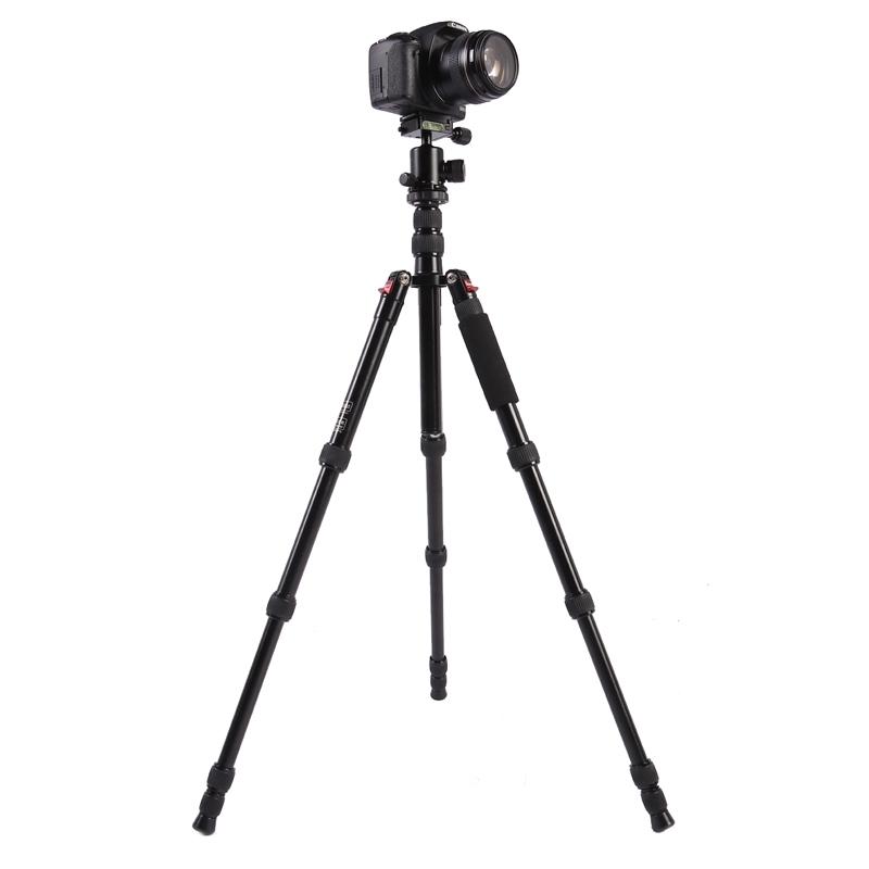 Triopo MT-2505C Verstelbaar Portable Statief Aluminium Tripod Standaard met NB-1S Balhoofd voor Canon Nikon Sony DSLR Camera (zwart)