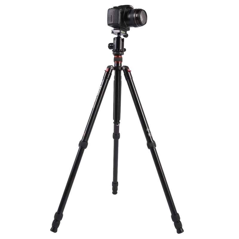 Triopo MT-2804C Verstelbaar Portable Statief Aluminium Tripod Standaard met NB-2S Balhoofd voor Canon Nikon Sony DSLR Camera (zwart)
