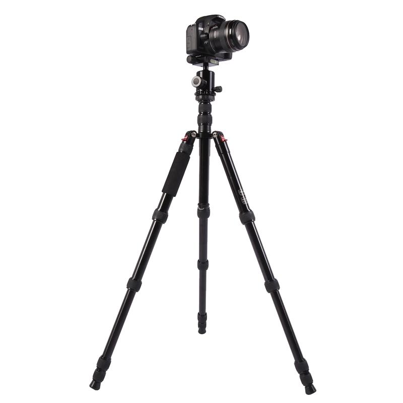 Triopo MT-2805C Verstelbaar Portable Statief Aluminium Tripod Standaard met NB-2S Balhoofd voor Canon Nikon Sony DSLR Camera (zwart)
