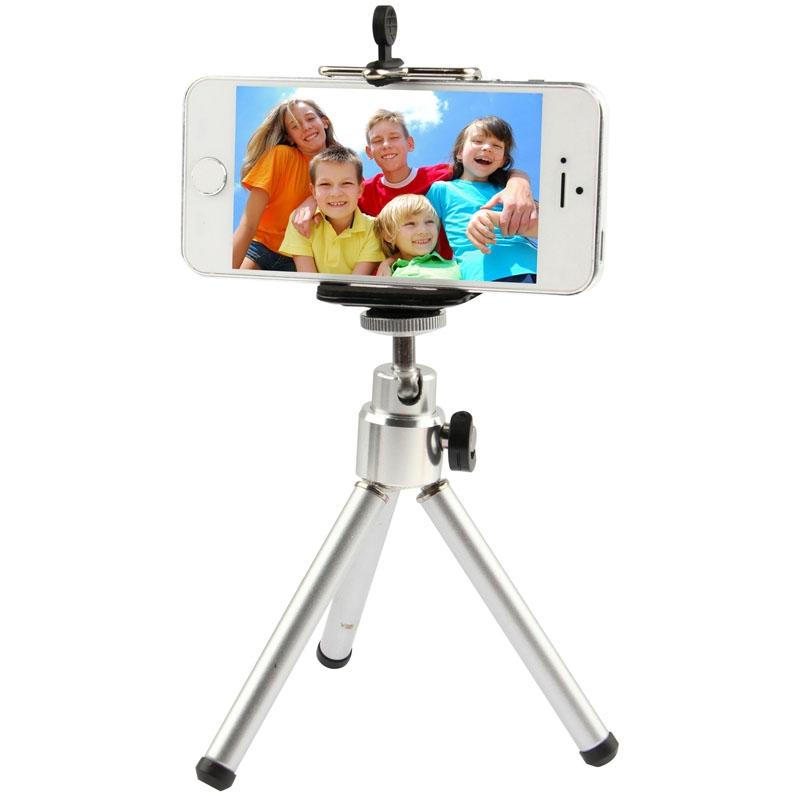 Draagbaar 360 graden draaiend Statief Tripod  is geschikt voor  iPhone  Samsung  LG  Huawei  Xiaomi  Google  Sony en andere Smartphones (zilverkleurig)