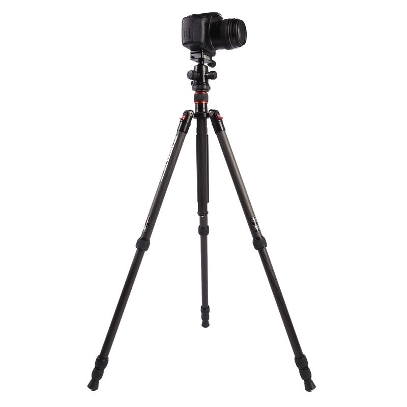 Triopo GT-2504X8.C Verstelbaar Portable Statief Koolstofvezel Tripod Standaard met B-1 Aluminium Balhoofd voor Canon Nikon Sony DSLR Camera (zwart)