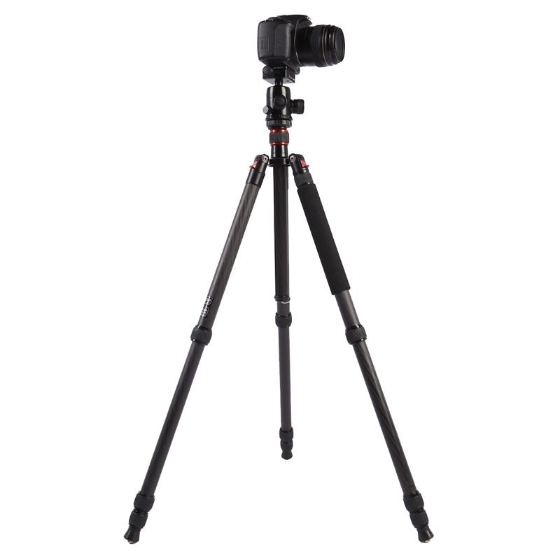 Triopo GT-2804X8.C Verstelbaar Portable Statief Koolstofvezel Tripod Standaard met B-2 Aluminium Balhoofd voor Canon Nikon Sony DSLR Camera (zwart)