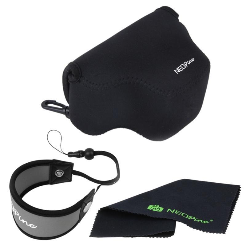 NEOpine Zachte Neopreen Camera Opbergtas + Handriem + Schoonmaakdoekje voor Samsung NX3000 Camera met 20-50mm Lens (zwart)