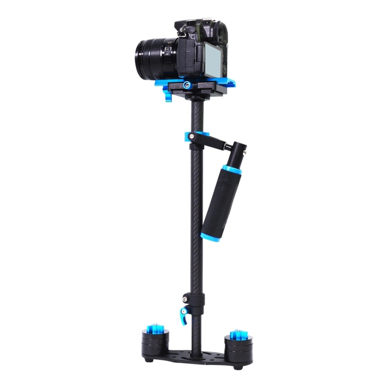 PULUZ S60T 38.5-61cm Koolstofvezel Handheld Stabilisator Steadicam voor DSLR & DV Digitale Video Camera, Draagvermogen: 0.5-3kg (blauw)