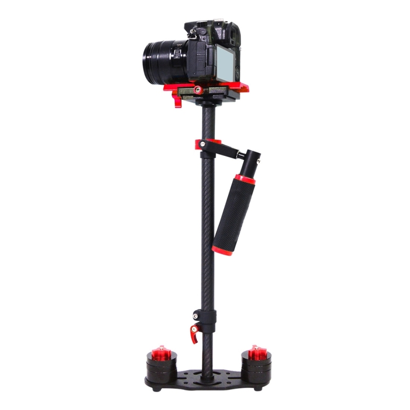 PULUZ S60T 38.5-61cm Koolstofvezel Handheld Stabilisator Steadicam voor DSLR & DV Digitale Video Camera, Draagvermogen: 0.5-3kg (rood)