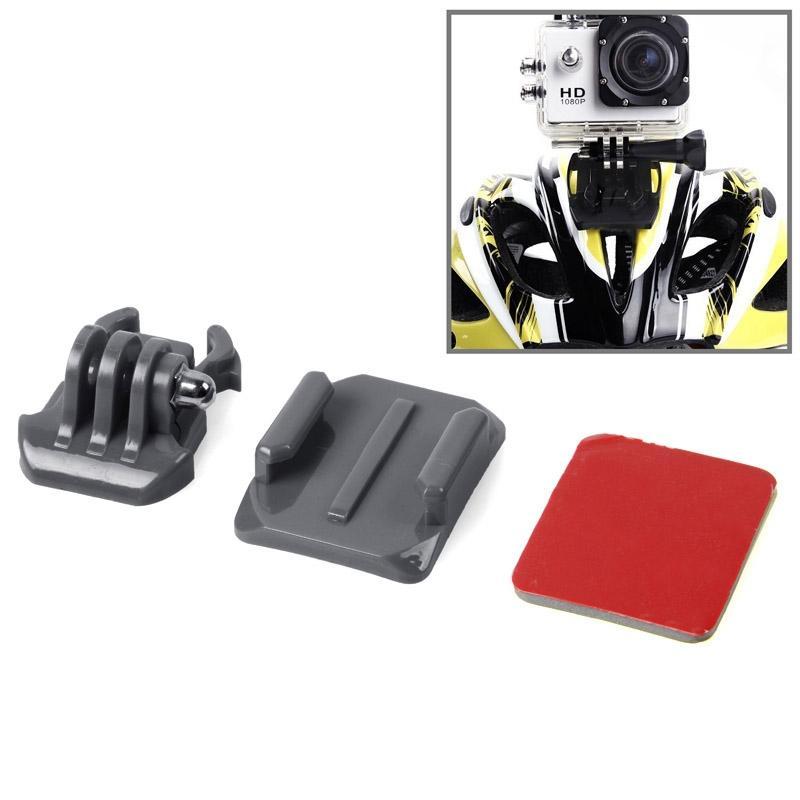 SIXXY Gopro helm gebogen oppervlak + 3M VHB Sticker + Stand Mount Kit voor GoPro Hero 4 / 3 + / 3 / 2 / 1(grijs)
