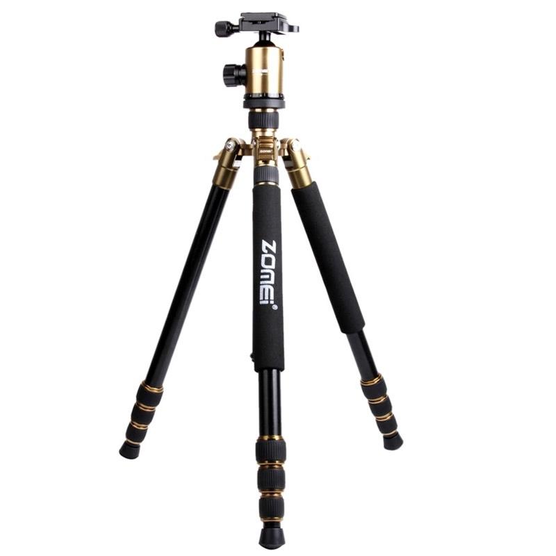 ZOMEI Z888 Professioneel Portable Statief Aluminium Tripod Monopod Standaard met Balhoofd voor Digitale Camera (Goudkleurig)