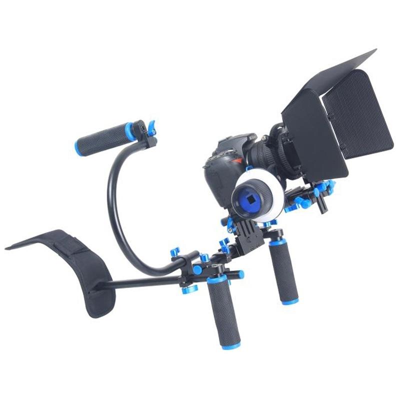 YELANGU YLG0102D Camera Schouderstatief met twee Handgrepen en met Matte Box Set voor DSLR / Video Camera