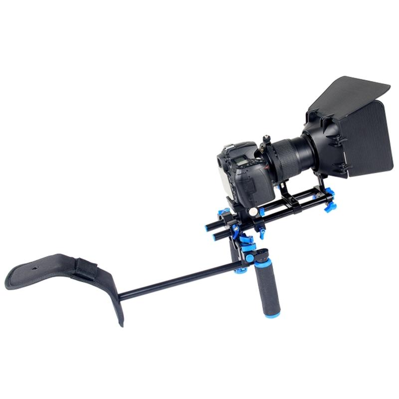 YELANGU YLG1102A-A Camera Schouderstatief met twee Handgrepen + Matte Box Set voor DSLR / Video Camera