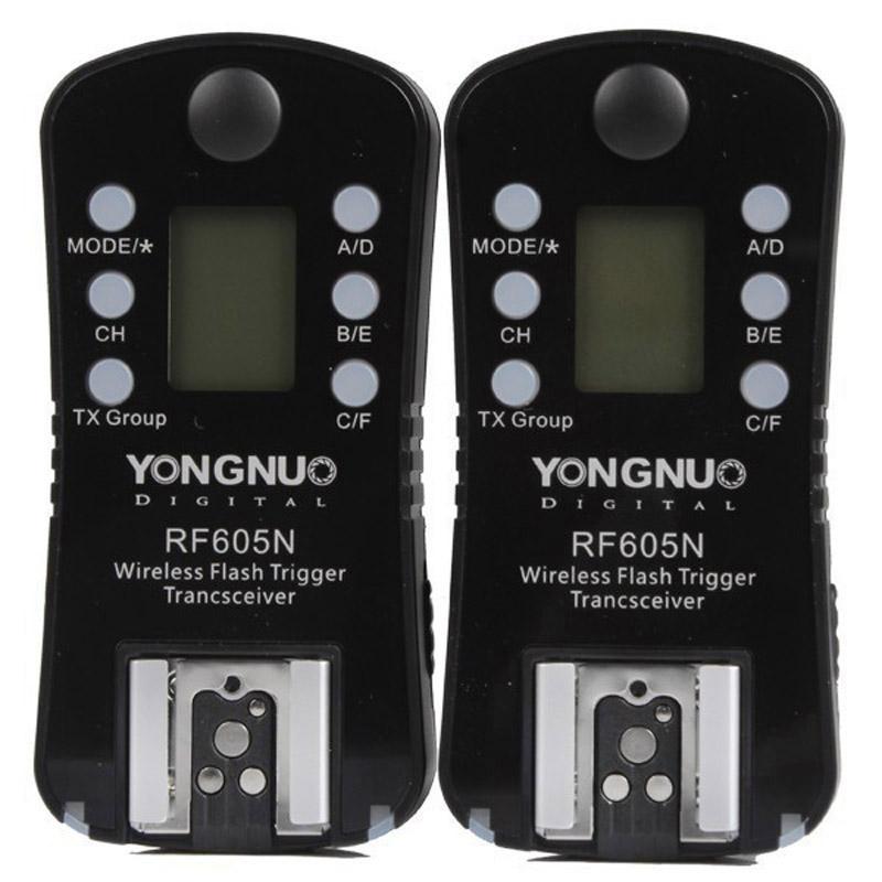 YONGNUO RF605N 2x Draadloze Flitser Trigger met 2x LS-2.5 ontspanknop verbindingskabel voor Nikon Camera