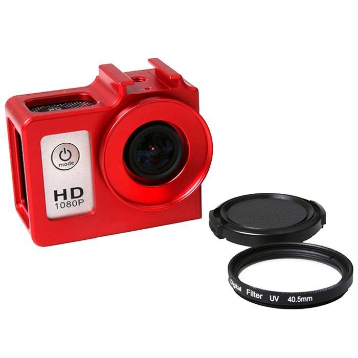 universeel aluminiumlegering beschermings hoesje met 40.5mm UV Filter & Lens beschermings Cap voor SJCAM SJ4000 & SJ4000 Wifi & SJ4000 + Wifi & SJ6000 & SJ7000 Sport actie Camera(rood)