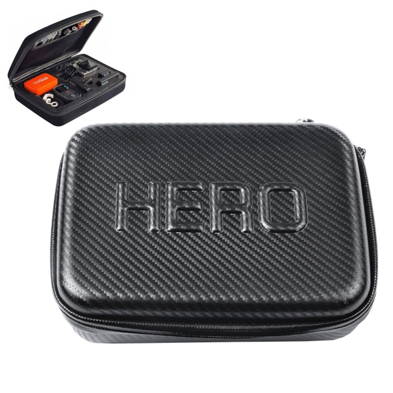 Carbon Fiber Shockproof Waterdicht draagbare hoesje voor GoPro Hero 4 / 3 + / 3 / 2 / 1  Afmeting: 22.5 cm x 16 cm x 6cm(zwart)