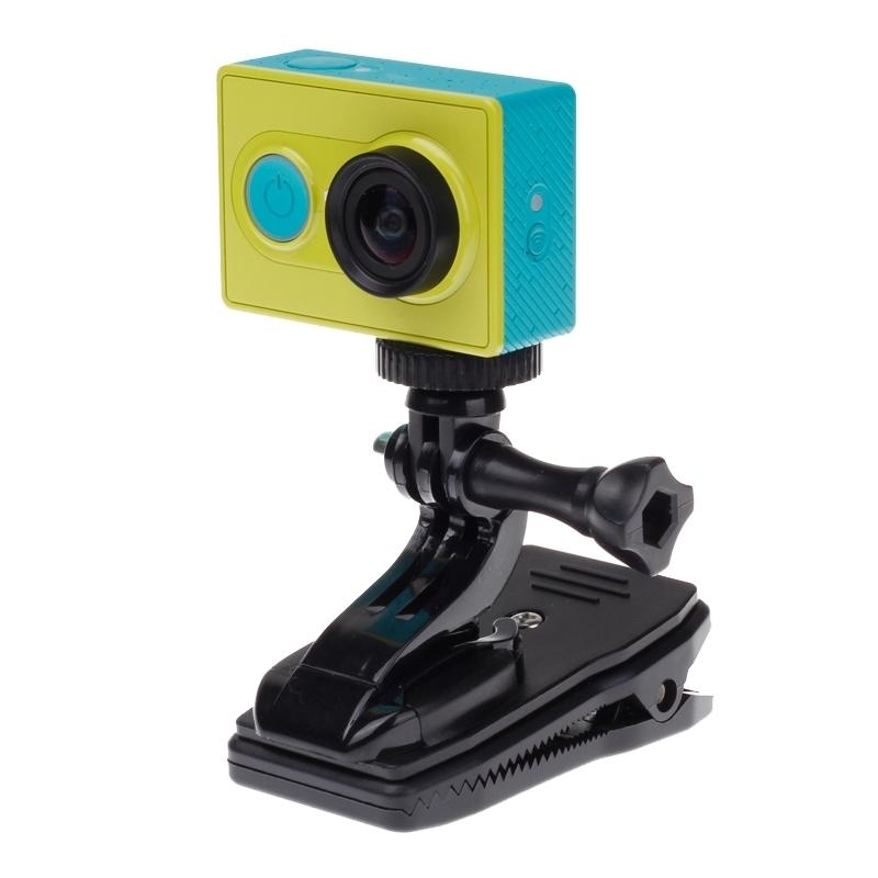 360 graden draaiend J vorm rugzak Hat Clip Fast Clamp Mount voor Xiaomi Yi Sport Camera