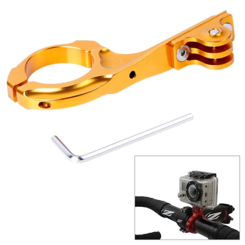TMC Bike Aluminum Handle Bar Adapter Pro Mount voor GoPro Hero 4 / 3+ / 3 / 2 / 1(Goud)