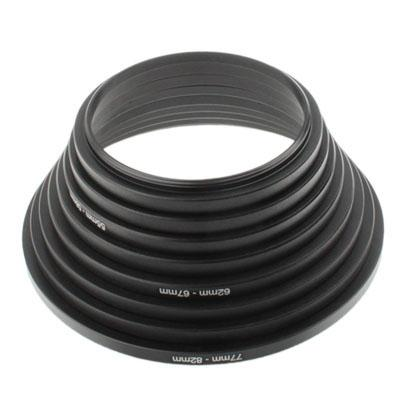 49mm - 82mm lens stepping ring, omvatten 8 lens stepping ringen (49mm - 52mm, 52mm - 55mm, 55mm - 58mm, 58mm - 62mm, 62mm - 67mm, 67mm - 72mm, 72mm - 77mm, 77mm - 82mm)