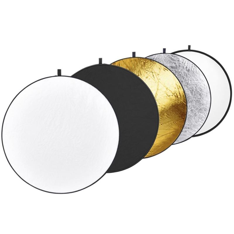 5 in 1 (zilver / doorschijnende / goud / wit / zwart) vouwen reflector bord (110cm)