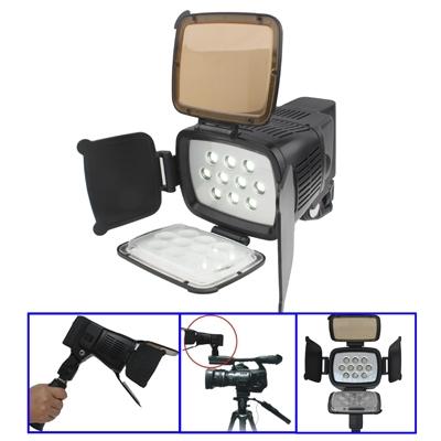 10 LED Videolamp met Grip / Verstelbare helderheid / Twee Kleurfilters (Geelbruin / Transparant) (LED-5012)