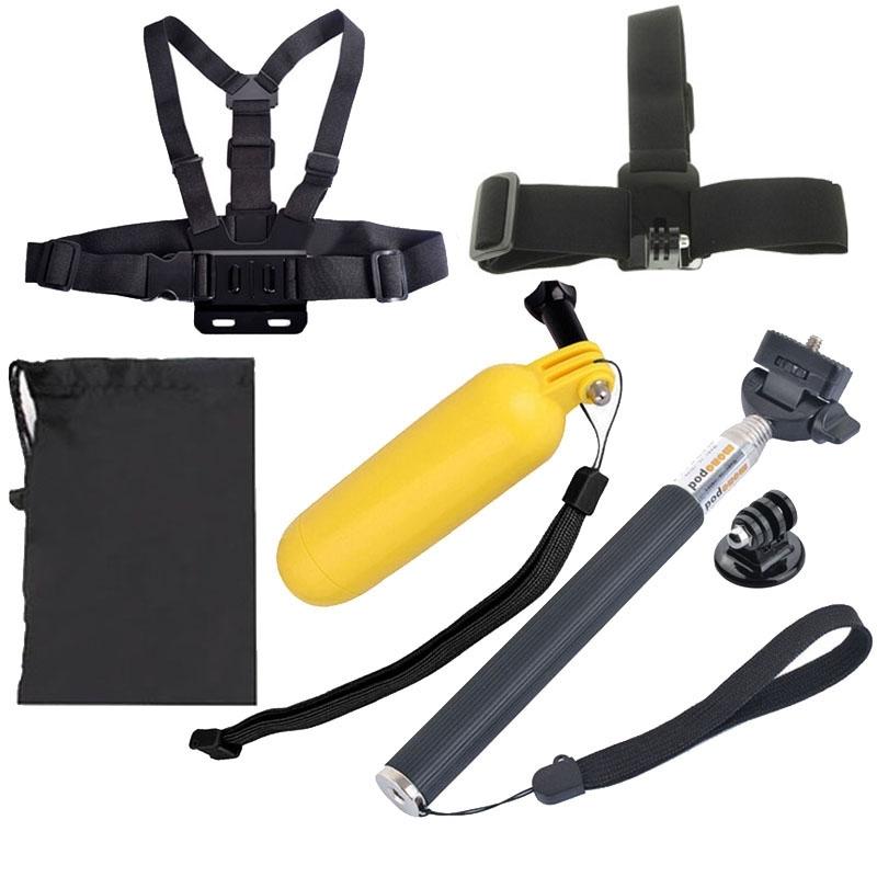 6 in 1 borstriem + hoofd riem drijvende Bobber Monopod + Monopod Tripod Mount Adapter + Carry Bag instellen voor GoPro HERO4 /3+ /3 /2 /1 / SJ4000
