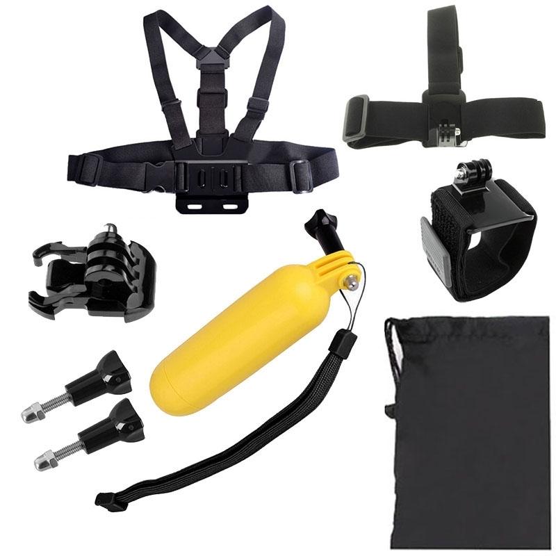 7 in 1 borstriem pols riem + hoofd riem + drijvende Bobber Monopod + gesp Basic Mount + schroevens + Carry Bag instellen voor GoPro HERO4 /3+ /3 /2 /1 / SJ4000