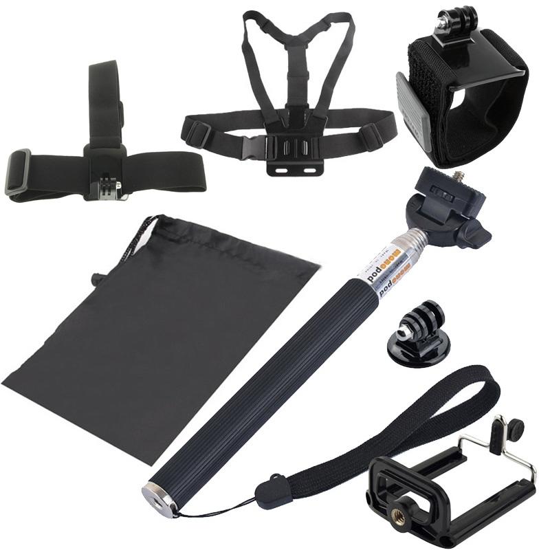 7 in 1 borstriem pols riem + hoofd riem + Selfie Monopod + statief-Mount + Carry Bag instellen voor GoPro HERO4 /3+ /3 /2 /1 / SJ4000