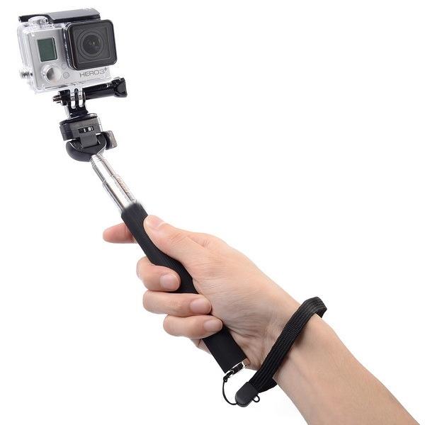 4 in 1 uitschuifbare Handheld Selfie Monopod met blauwtooth Remote Shutter + Clip houder + statief Mount Adapter ingesteld voor GoPro HERO4 /3+ /3 /2 /1 / SJ4000