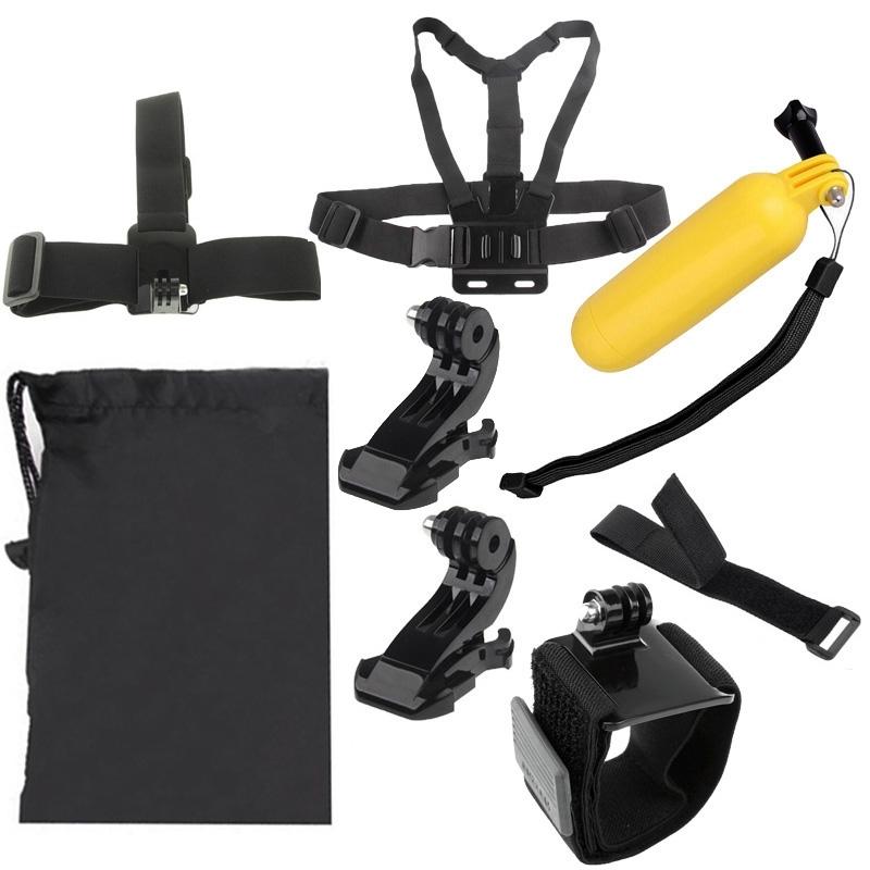 7 in 1 borstriem pols riem + hoofd riem + drijvende Bobber Monopod + externe pols riem + Carry Bag instellen voor GoPro HERO4 /3+ /3 /2 /1 / SJ4000