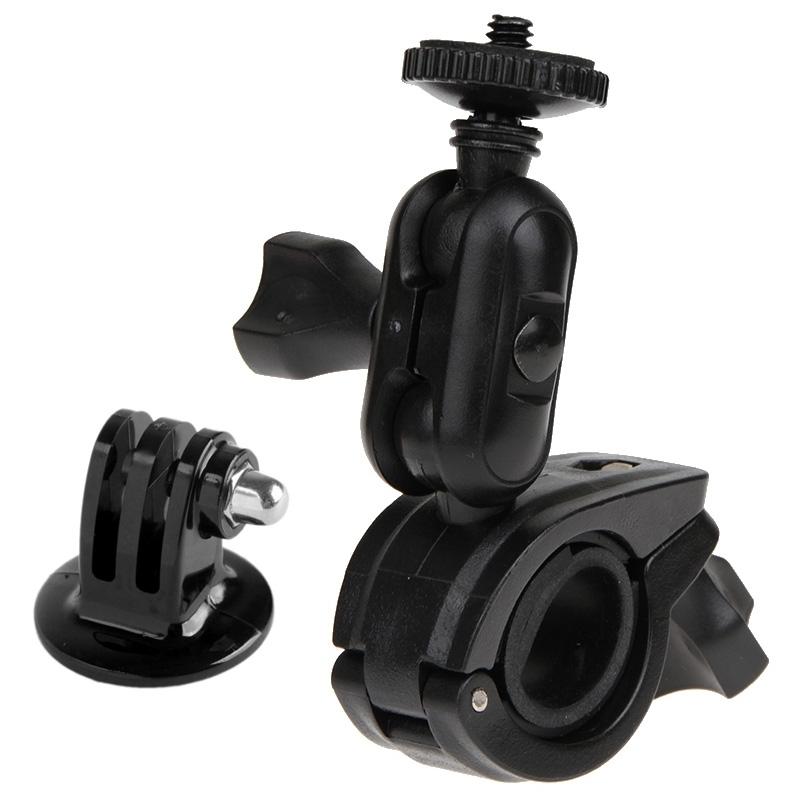 360 graden draaibaar fiets motor houder Stuur Mount met schroeven & statief Adapter voor GoPro HERO4 /3+ /3 /2 /1