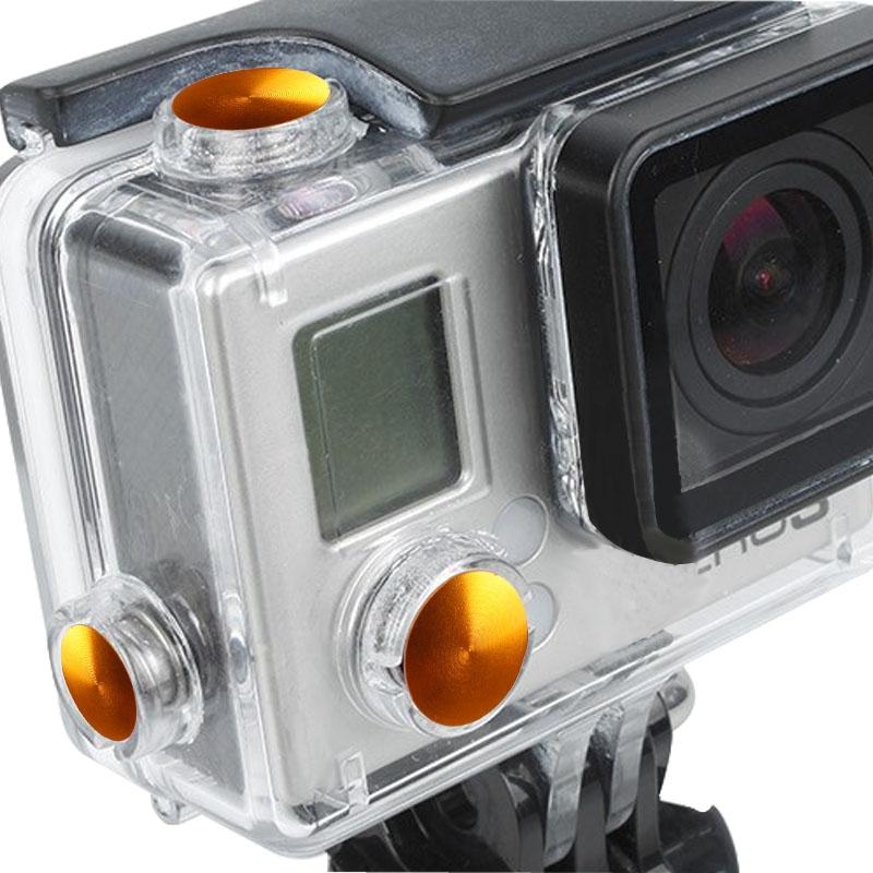 3 PC's TMC aluminium geanodiseerd Kleur knop ingesteld voor GoPro Hero 3+(Oranje)
