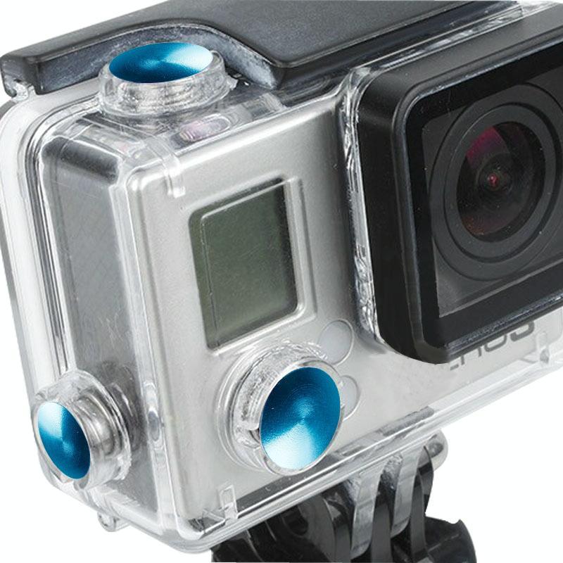 3 PC's TMC aluminium geanodiseerd Kleur knop ingesteld voor GoPro Hero 3+(blauw)