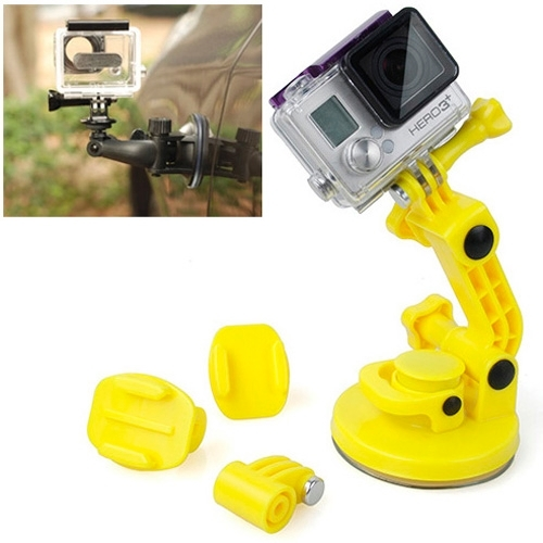 TMC Car Suction Cup Mount + Tripod Adapter + Handle Screw for GoPro NEW HERO6 /5 /5 Session /4 Session /4 /3+ /3 /2 /1  Xiaoyi and Other Action Cameras(Yellow) TMC Car Suction Cup Mount + Tripod Adapter + Handle Screw for GoPro NEW HERO6 /5 /5 Session /4