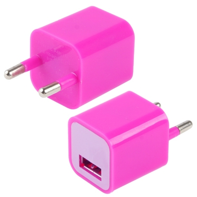 USB thuis lader / oplader voor iphone 5 , iphone 4 & 4s (hard roze)