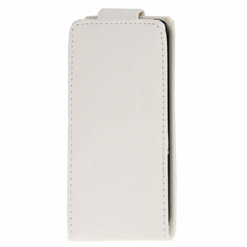 iPhone 5C vertikaal PU leren Flip Hoesje met opbergruimte voor pinpas Wit