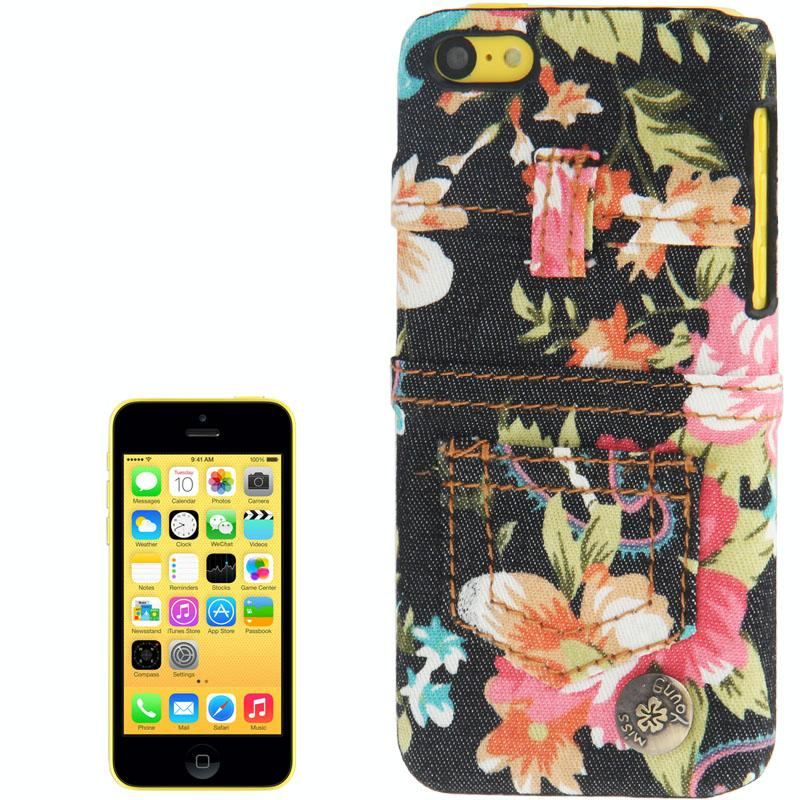 iPhone 5C Pioen rozen patroon met Denim structuur Kunststof back cover Hoesje (zwart)