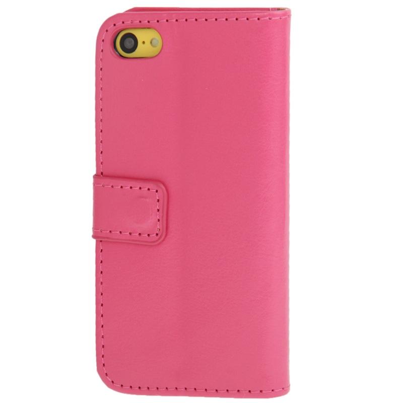 iPhone 5C horizontaal Crazy Horse structuur PU leren Flip Hoesje met houder en opbergruimte voor pinpassen (hard roze)