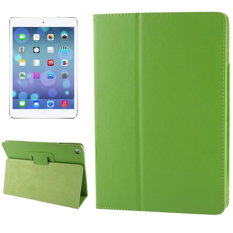 Litchi structuur Flip lederen hoesje met houder voor iPad Air    (groen)