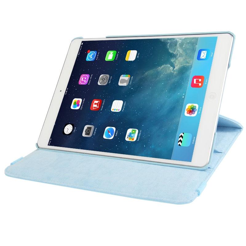 360 graden draaiend Litchi structuur lederen hoesje met 2 Gears houder voor iPad Air(blauw)