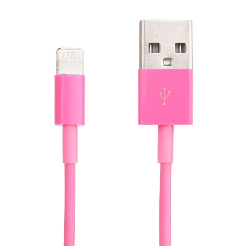 USB Sync Data / laad Kabel voor iPhone 6 / 6S & 6 Plus / 6S Plus  iPhone 5 & 5S & 5C  iPad Air  Lengte: 1 meter  Compatibel met iOS 8.0(hard roze)