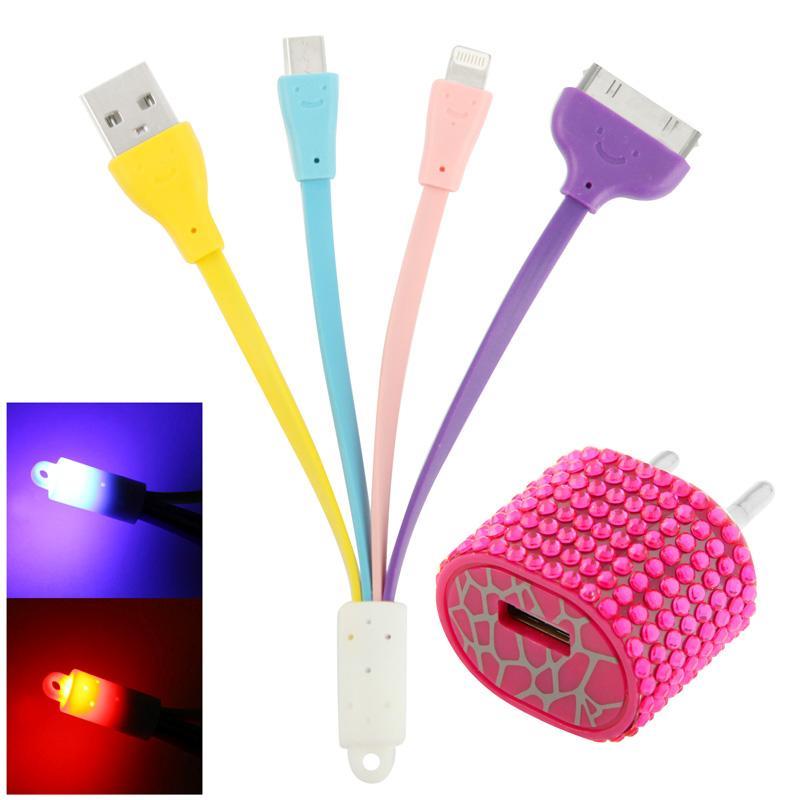 Afbeelding van 2 in 1 EU stekker met nep-diamanten ingelegd travel laad + (micro USB + 30 pin) multi-functie USB laad kabel met smile face voor iphone / ipad / ipod / samsung / sony ericsson / nokia / lg magenta (hard roze)