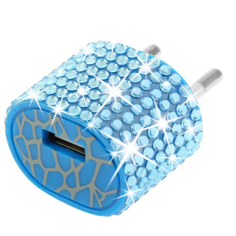 Afbeelding van EU stekker met nep-diamanten ingelegde reis oplader voor iphone / ipad / ipod / samsung / sony ericsson / nokia / lg 5v / 1a (blauw)