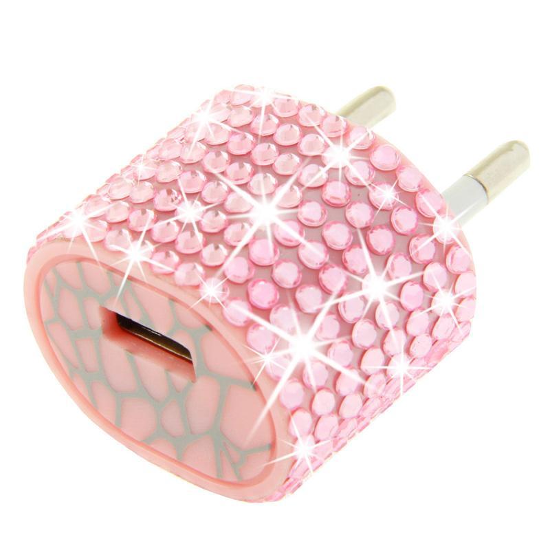 Afbeelding van EU stekker met nep-diamanten ingelegde reis oplader voor iphone / ipad / ipod / samsung / sony ericsson / nokia / lg 5v / 1a (roze)
