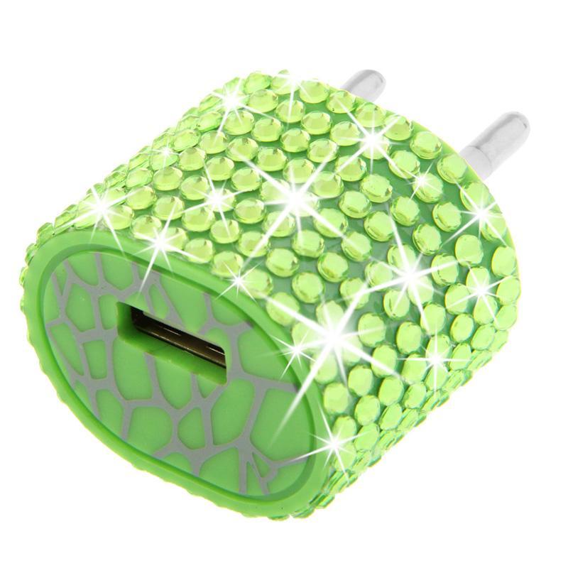 Afbeelding van EU stekker met nep-diamanten ingelegde reis oplader voor iphone / ipad / ipod / samsung / sony ericsson / nokia / lg 5v / 1a (groen)
