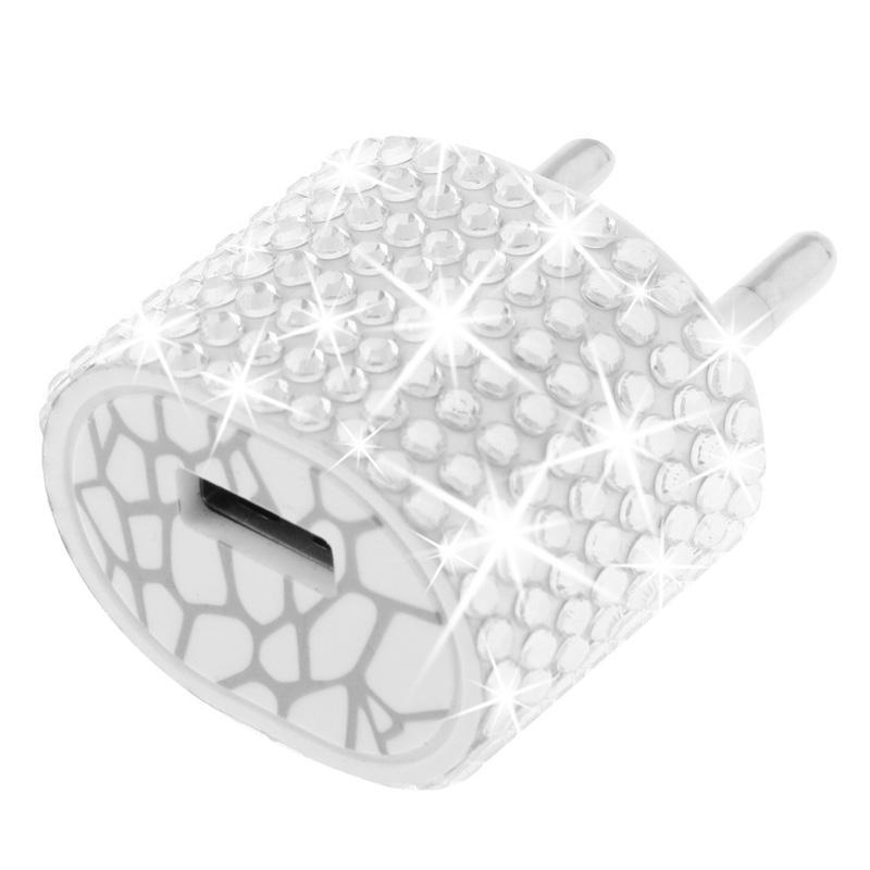 Afbeelding van EU stekker met nep-diamanten ingelegde reis oplader voor iphone / ipad / ipod / samsung / sony ericsson / nokia / lg 5v / 1a wit