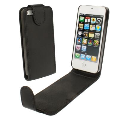 iPhone 5 & 5S vertikaal zacht PU leren Flip Hoesje (zwart)