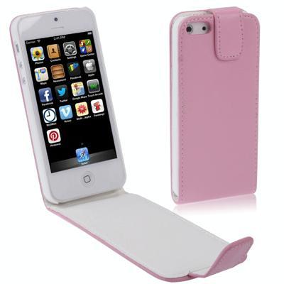 Vertikaal zacht lederen flip hoesje voor iPhone 5 & 5S (roze)