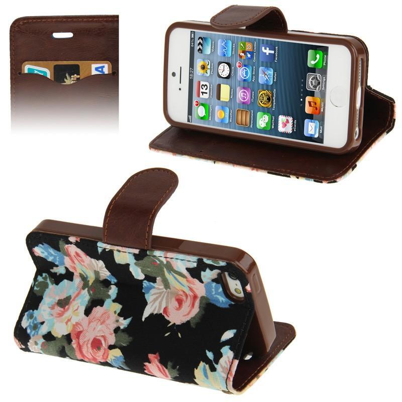 iPhone 5 & 5S horizontaal Denim structuur met Pioen rozen patroon PU leren Flip Hoesje met houder en opbergruimte voor pinpassen (zwart)