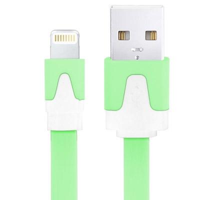 Platte Noodle Stijl USB Sync Data / laad Kabel voor iPhone 6 / 6S & 6 Plus / 6S Plus, iPhone 5 & 5S & 5C, iPad Air, Kabel Lengte: 1 meter (groen)